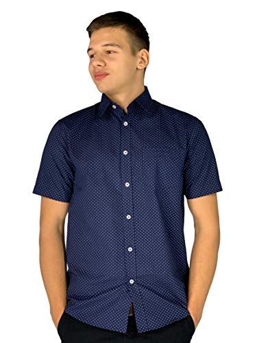 Pierre Cardin Hombre Camisa de Manga Corta Estampado Cuadros o Geométrico con Bordado de Firma (5XL, Navy)