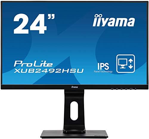 iiyama XUB2492HSU-B1 Monitor IPS LED 60.5 cm, 23.8 pulgadas, Full-HD (VGA, HDMI, DisplayPort, USB2.0, Ultra-Slim-Line, Regulable en altura, Pivotante), Negro Mate