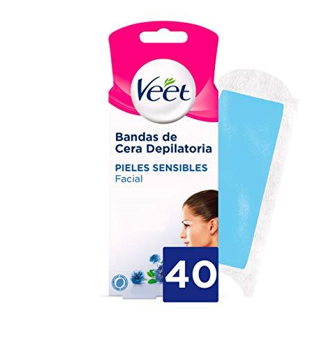 Veet Bandas de Cera Fria Depilatoria para Depilación Facial Adecuado para Labio Superior (Bigote), Easy Gelwax, Pieles Sensibles, 40 tiras