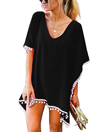 UMIPUBO Mujer Ropa de Baño Suelto Vestido de Playa Borla Verano Camisolas y Pareos Transparente Bikini Cover up (Negro)