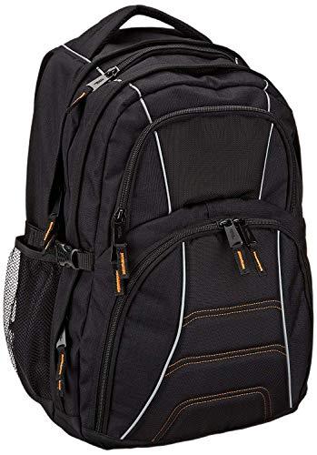 Amazon Basics Sac à dos pour ordinateur portable avec bretelles rembourrées et compartiments de rangement pour stylos, clés, téléphone portable - Convient à la plupart des ordinateurs 43 cm (noir)