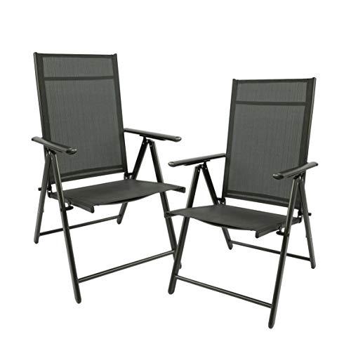 MaxxGarden - Juego de 2 sillas plegables para jardín, camping, plegable, de aluminio y plástico, color negro