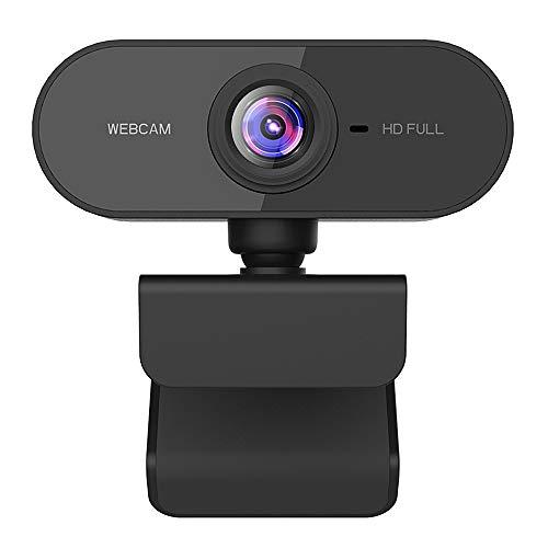 Dewanxin Webcam 1080P Full HD CMOS Cámara Web de Alta Micrófono Reductor de Ruido y Corrección de Automática,USB Plug and Play,Base Giratoria de 360°,para PC Computadora Portátil, Videollamadas Juegos