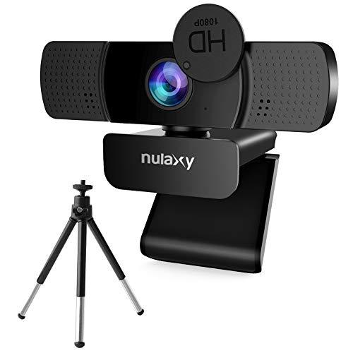 NULAXY Webcam HD 1080P, Webcam USB con Micrófono, Obturador de Privacidad y Trípode para Videollamadas, Clases en Línea, Conferencias, Funciona con Skype, Zoom, FaceTime, Hangouts, PC, Laptop - Negro