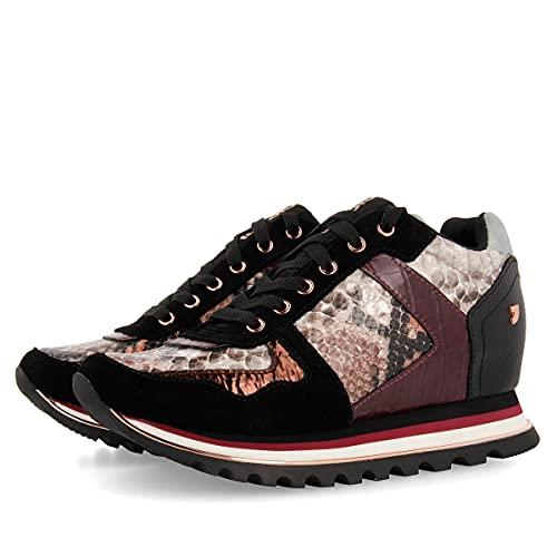 Sneakers Burdeos con Diferentes Texturas y cuña Interna para Mujer NAZRAN
