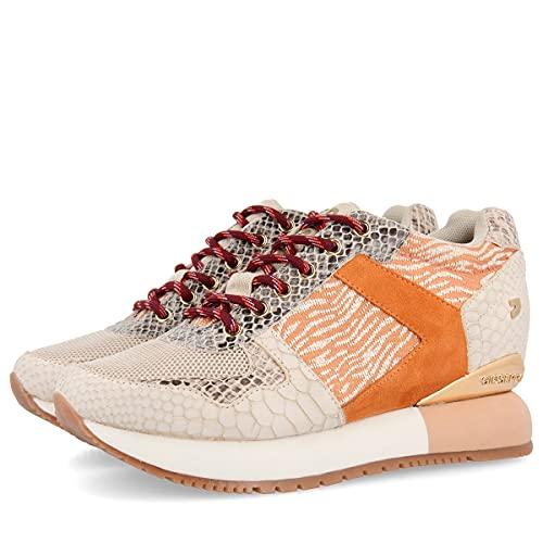 Sneakers Beige con Detalles Naranjas y cuña Interna para Mujer THEUX