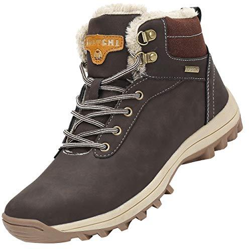 Mishansha Mujer Hombre Botas para Invierno con Forro Cálidas Zapatos para Caminar Senderismo y Trekking - Calentitas Cómodas Antideslizantes(Marrón, 43 EU)