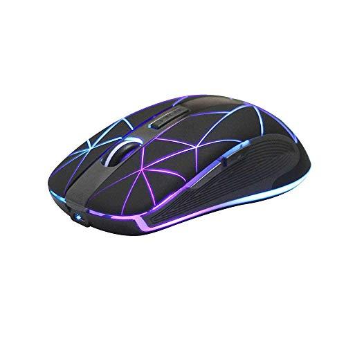 Rii RM200 Ratón inalámbrico con batería Recargable,5 Botones Receptor Nano 2.4 GHz, 3 Niveles dpi Ajustables Multicolor LED, Ideal para Notebooks, PC, Ordenadores. (Negro).
