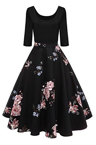 Axoe - Vestidos de Rockabilly vintage para mujer de los años 50, manga 3/4