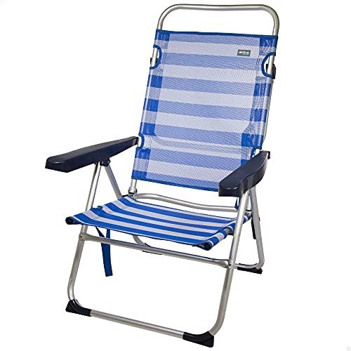 Aktive 53956 - Silla plegable multiposición, Silla de camping, 5 posiciones, con asa de transporte, 63x57x99 cm, altura del asiento 32 cm, color azul, peso máx 100 kg