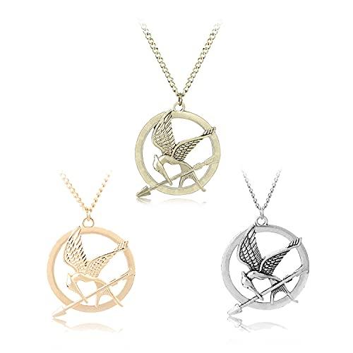 I3C - Collar de 3 piezas de The Hunger Games Mockingbird para cosplay con colgante de Halloween, accesorios de fiesta temática Mockingjay para los Fans de The Hunger Games (oro, plata, bronce)