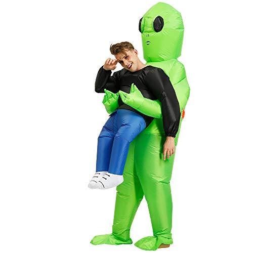 Zi Xi & Zi Qi Disfraz Inflable Extraterrestre Disfraces Disfraces de Carnaval de Halloween Adulto (Extraterrestre Verde)