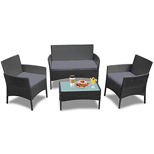 HENGMEI Conjunto Muebles de Jardín en Poly Ratan Juego de Muebles de jardín de polirratán para 4 Personas
