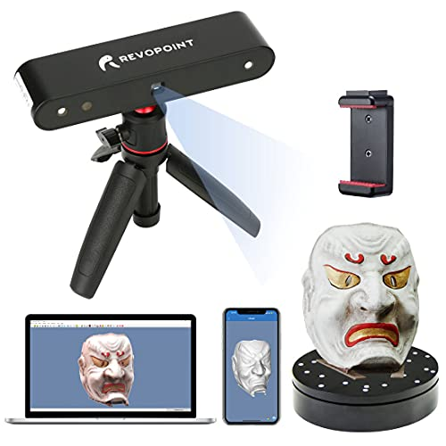 Escáner 3D POP Revopoint con plataforma giratoria 0,3 mm Precisión Velocidad de escaneo 8 Fps Escritorio portátil Modo de escaneo fijo/automático para modos escaneo facial corporal para impresión 3D