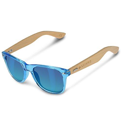 Navaris Gafas de sol UV400 - Gafas de madera para hombre y mujer - Gafas de sol con patillas de madera - Azul