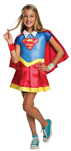 DC Comics - Disfraz de Supergirl licencia oficial para niña, infantil talla 7-8 años (Rubie's 620714-L)