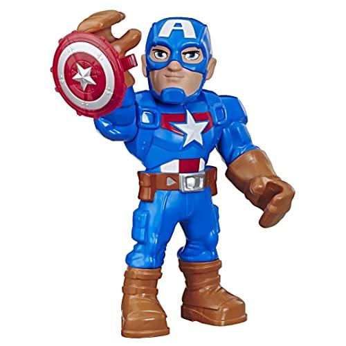 Playskool Heroes Mega Mighties Marvel Super Hero Adventures - Captain America - Figura de acción Coleccionable de 25 cm - Edad: 3+