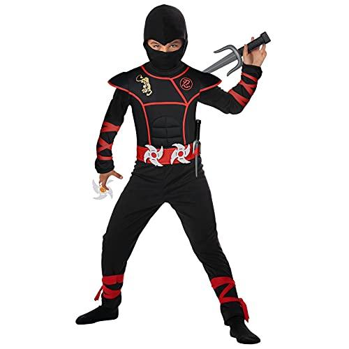 URAQT Disfraz de Ninja, Disfraz para Niños con Diseño Ninja, Mono de Superhéroe de Cosplay para Niños, Disfraz Infantil para Fiesta, Carnaval, Halloween (Rojo Negro)