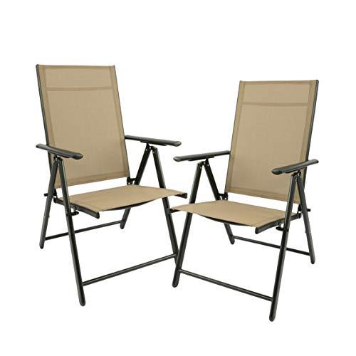 Maxx - Juego de 2 sillas plegables de jardín, terraza, balcón o camping, de aluminio y plástico
