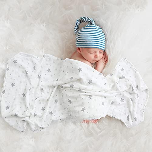 Mr.do® Muselina Manta Bebé 120x120 cm Bambú Algodón Mantas Envolventes Verano Bebe Recien Nacido, Diseño de Estrellas Gris