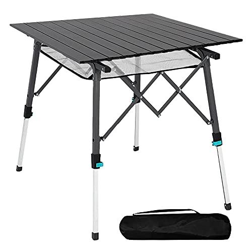 Mesa de camping plegable con tablero de aluminio, ligera, plegable, portátil, con bolsa de transporte, 70 x 70 cm, mesa plegable portátil al aire libre, mesa plegable (negro)