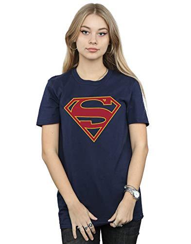 DC Comics Mujer Supergirl Logo Camiseta del Novio Fit Azul Marino Medium