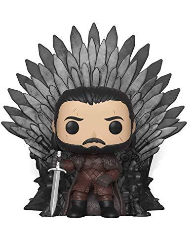 Funko - Pop! Deluxe: Game of Thrones S10: Jon Snow Sitting on Iron Throne Figura Coleccionable, Multicolor (37791)