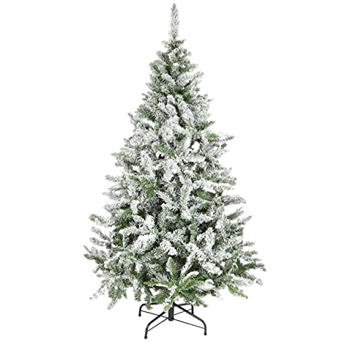 Árbol de Navidad Artificial Nevado Extra Relleno con Base Plástico Decoración Navideña - 120cm/230 Ramas