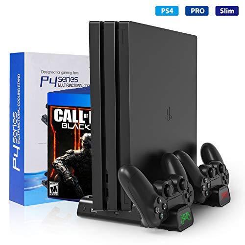 Buluri Soporte Vertical con Ventiladores de refrigeración, Soporte para PS4, estación de Carga con Controlador Dual Todo en uno,Almacenamiento de Juegos para PS4 / PS4 Pro / PS4 Slim