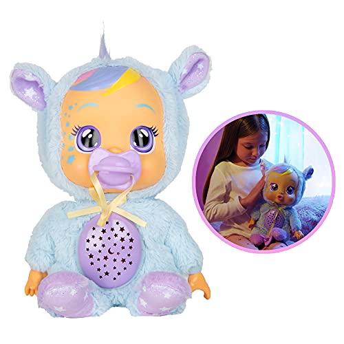 BEBÉS LLORONES Goodnight Starry Sky Jenna   Suave muñeca quitamiedos para dormir, que llora lágrimas LED, proyecta cielo de estrellas con música relajante   Regalo y muñeca ideal para niños de +2 años
