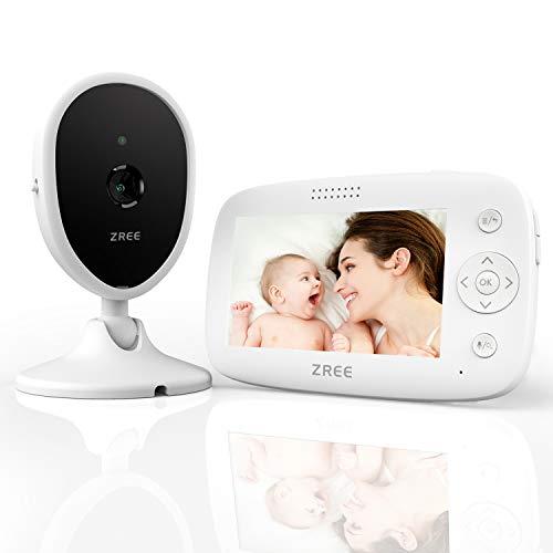 """vigilabebes con camara, ZREE 4.3"""" camara vigilancia bebe con Visión Nocturna, intercomunicador bebe con Sensor de Temperatura y VOX, Audio Bidireccional, 3200 mAh, Vigila Bebes Inalambricos"""