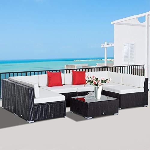Outsunny Conjunto Muebles de Jardín Ratán 7 Piezas Set de Sofás Patio con 1 Mesita Almohada y Cojín Incluido Marco Acero Resistente Intemperie UV Marrón