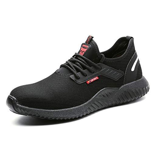UCAYALI Zapatos de Seguridad con Punta de Acero para Hombre Mujer Zapatillas de Trabajo Puntera Reforzada Calzado de Protección Industria Construcción - Cómodos Ligeros y Antideslizantes(Negro, 39)