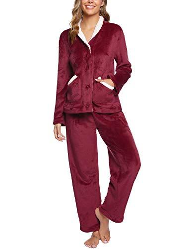 iClosam Pijama Mujer Invierno Franela Largo Dos Piezas,Botones Ropa de Dormir Casual Ropa de Casa Cálido Cómodo S-XXL