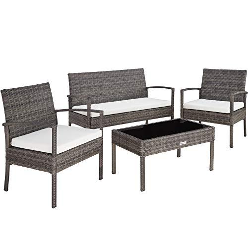TecTake 403398 Conjunto Muebles de Jardín, Poliratán Sintético, Set de 4 Plazas, 2 sillones 1 Mesa 1 Banco, Gris, Jardín Exterior Patio