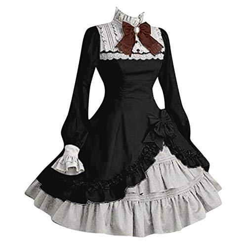 Vestido gótico para mujer, vestido de princesa Lolita, punk, vestido medieval, con volantes, estilo victoriano, vintage, swing, vestido de fiesta, mini vestido, Negro , XL