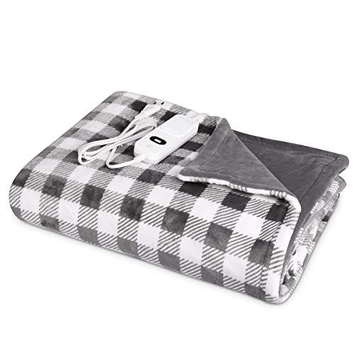 Navaris Manta eléctrica para hombros cuello y brazos - Poncho eléctrico con forma de U y mando - Manta térmica lavable - En blanco negro y gris
