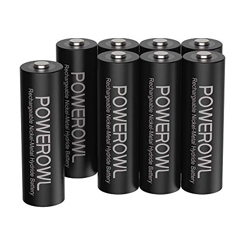 Pilas AA Recargable POWEROWL Alta Capacidad 2800mAh 1.2V Pilas Recargables AA NI-MH Baja Autodescarga para Equipos Domésticos(Precarga 8 Piezas, 1200 Ciclo)