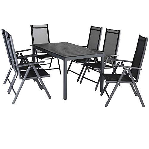 Casaria Conjunto de jardín Bern Negro Juego de 6 sillas y 1 Mesa Set de Muebles de Aluminio Comedor