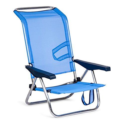 SOLENNY 50001072720095 - Silla de Playa Cama Plegable con 4 Posiciones con Respaldo Alto con Asas de Transporte Aluminio Anti Corrosión y Textilene Rápido Secado Color Azul