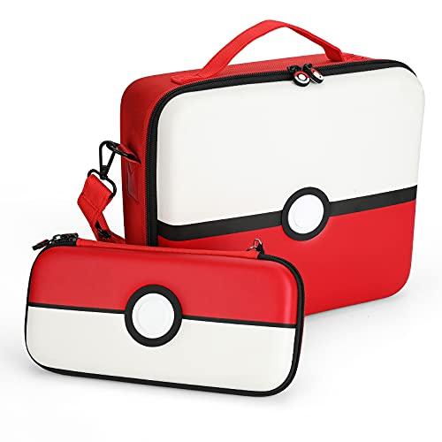 Funda de Transporte para Switch & Switch OLED, Pokémon Pokeball Diseño, Case Rígida de Protector Estuche de Almacenamiento para Switch Console y Accesorios - Solución de Sub-Paquete