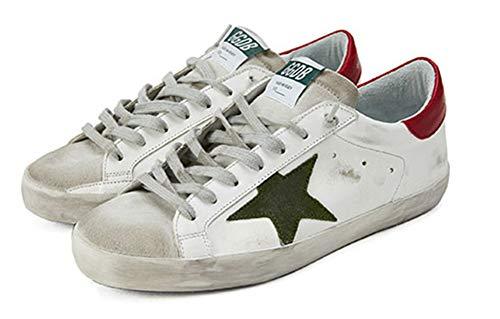 VCEGGDB Zapatillas de deporte de moda para hombre con cordones para arriba bajo punta redonda estrella casual caminar zapatos planos, color, talla 40 2/3 EU