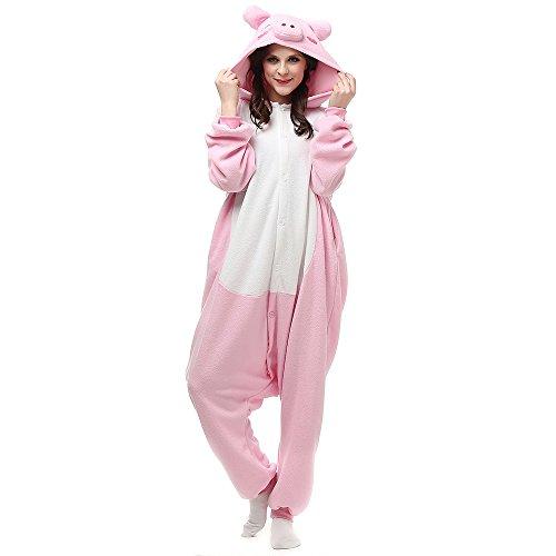 Pijamas de Animales Disfraces Onesie Animal para Adultos Mono Cosplay Pijama Cerdo Invierno Unisex Mujeres y Hombres Disfraz de Halloween,LTY53,L