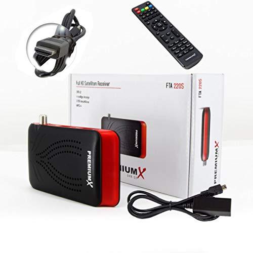 PremiumX Receptor de televisión digital mini HD FTA 220S, DVB-S2, HDMI, USB, Full HD, 1080p, HDTV, receptor satélite