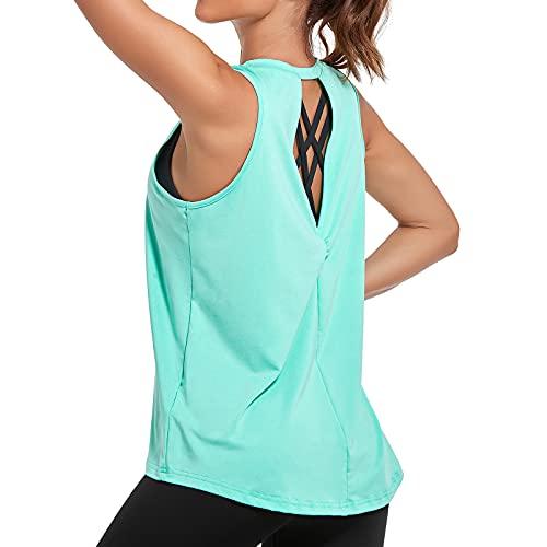 Sylanfia Camiseta sin Mangas Camisas para Mujer Deportiva Yoga Running Chaleco Fitness Tops para Mujer Ligera Plisada Holgada Espalda Yoga Tank Top