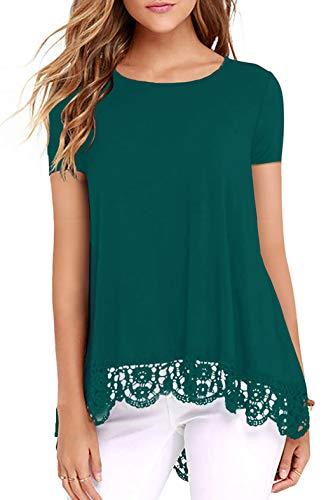 Odosalii Blusa de manga larga para mujer, elegante, para invierno, cuello redondo, encaje, túnica sexy, 01-azul verde, L