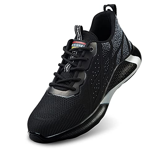 Botas de Trabajo Hombre Botas de Seguridad Mujer Botas de Seguridad Botas Puntera de Acero Calzado de Seguridad Deportivo Zapatos de Seguridad Verano Tenis de Seguridad para Hombre(Gris 44)