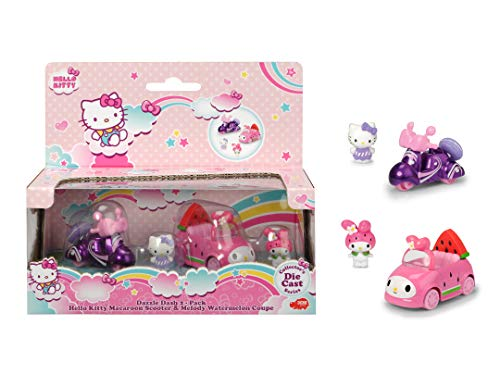 Dickie 253242003 Hello Kitty - Patinete Macaron y Melody (Metal, Incluye Figuras extraíbles)