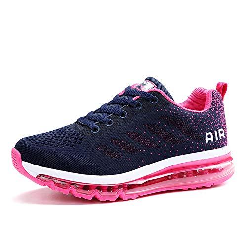 Smarten Zapatillas de Running Hombre Mujer Air Correr Deportes Calzado Verano Comodos Zapatillas Sport Blue Red 38 EU
