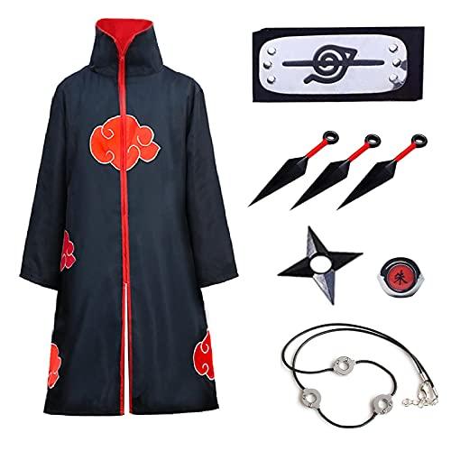 Formemory Akatsuki - Abrigo infantil unisex para cosplay, disfraz con cinta para la cabeza, anillos Akatsuki, anime, cosplay, chaqueta de Halloween, Navidad, fiesta, disfraz (Black-XXS)